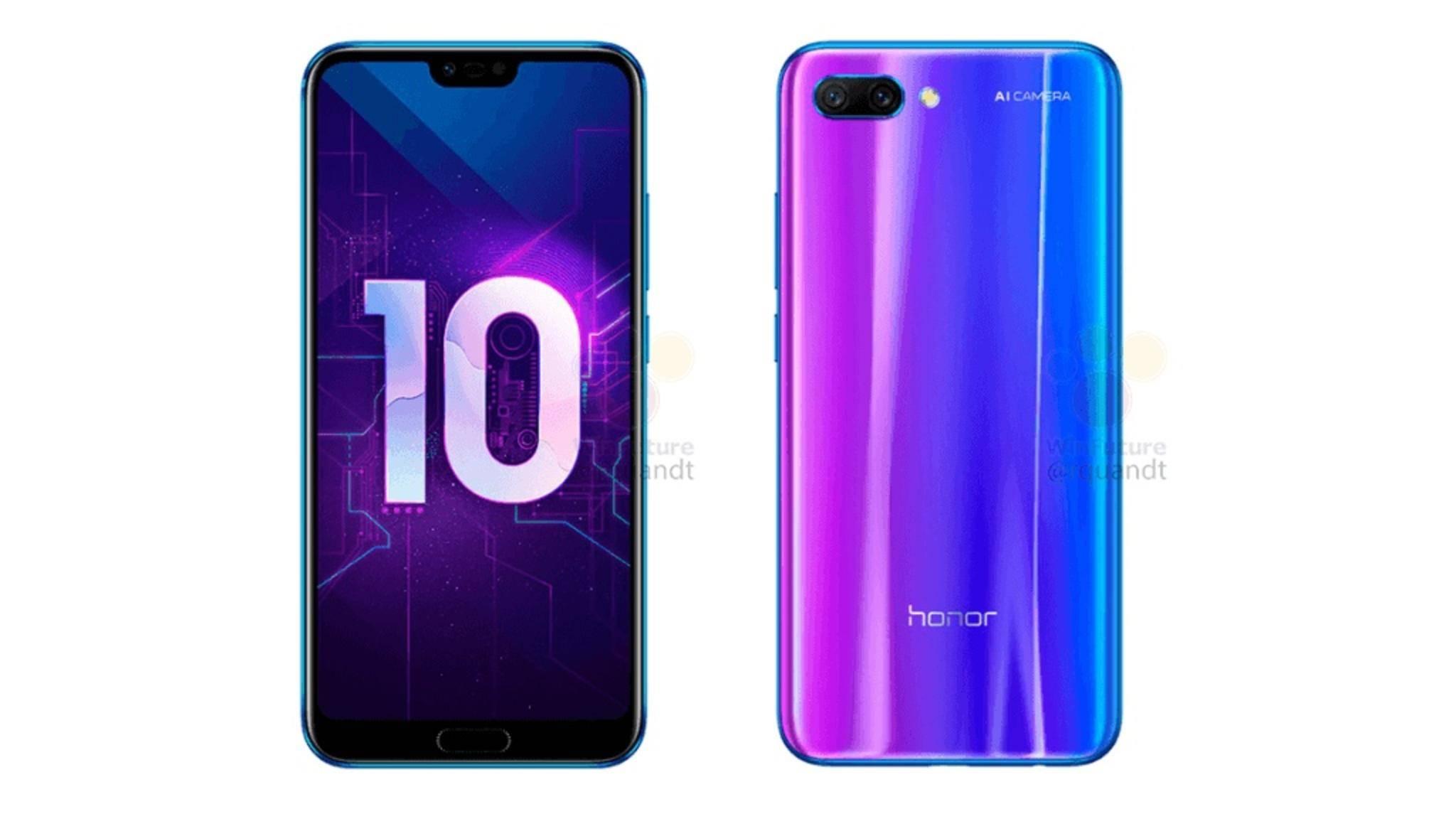 Das Honor 10 soll auch in der vom Huawei P20 Pro bekannten Twilight-Farbe erhältlich sein.