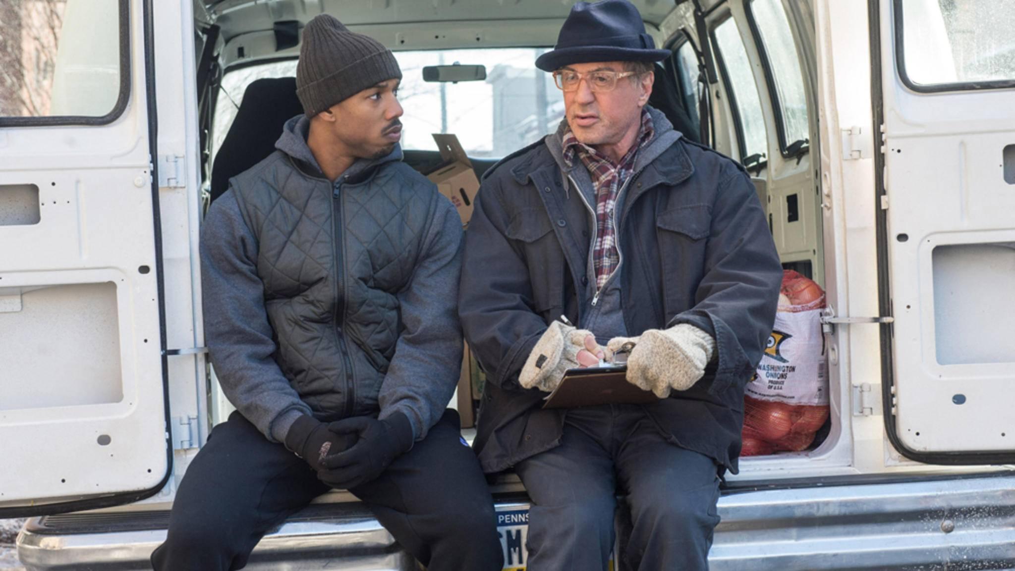 """Michael B. Jordan (links) und Sylvester Stallone (rechts) kehren Ende 2018 mit """"Creed 2"""" in die Kinos zurück."""