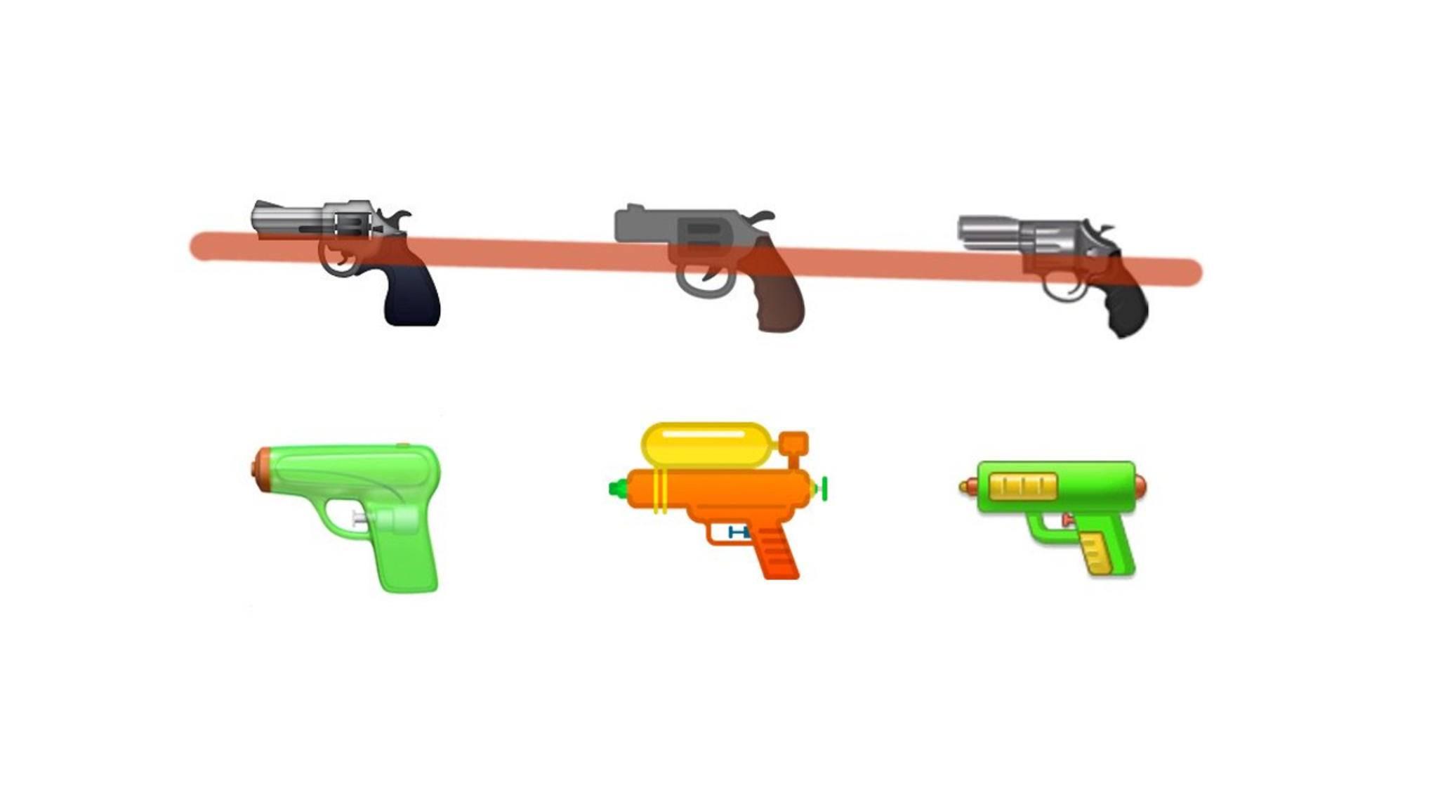 Auch Google hat jetzt das Pistolen-Emoji (Mitte) geändert.