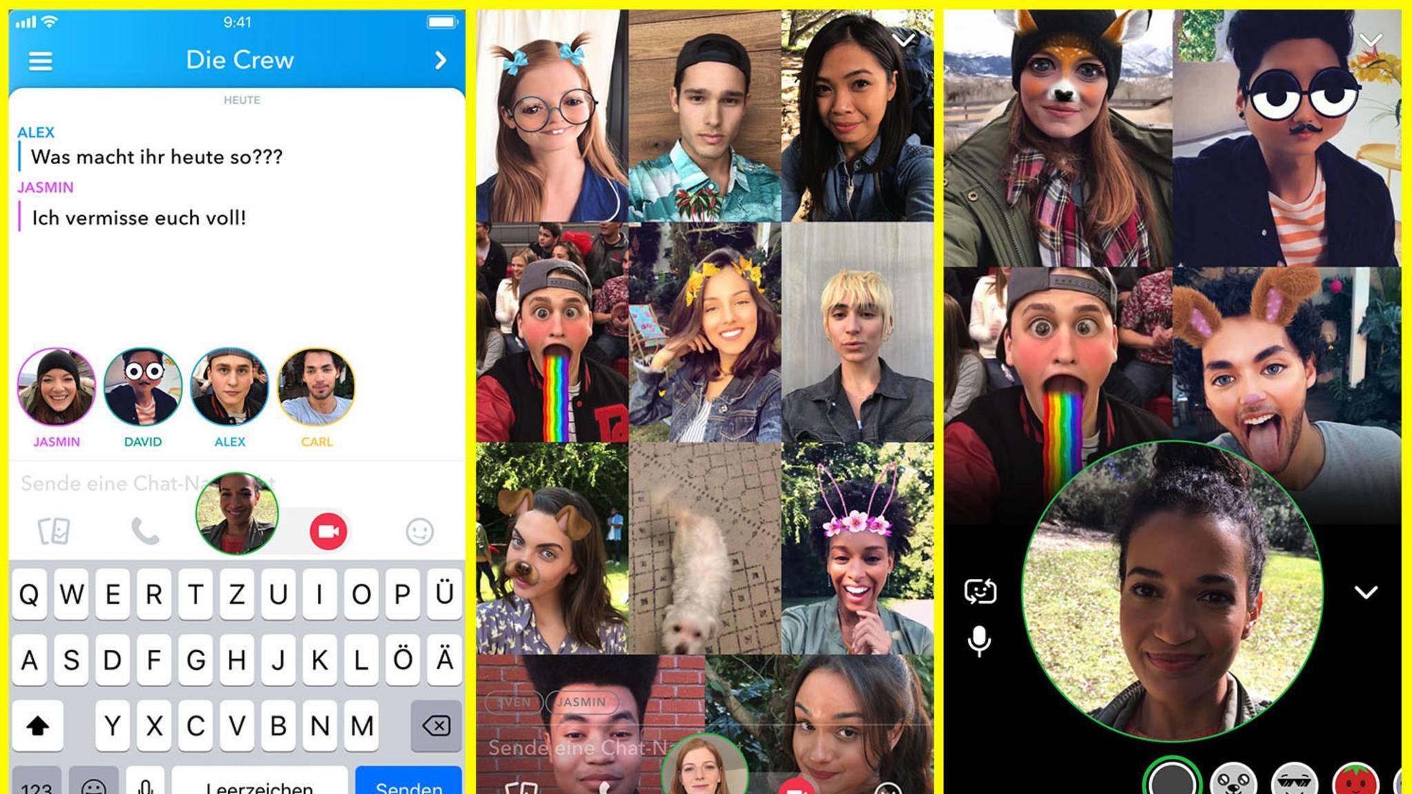 Gruppen-Videochats mit bis zu 16 Personen sind jetzt in Snapchat möglich.
