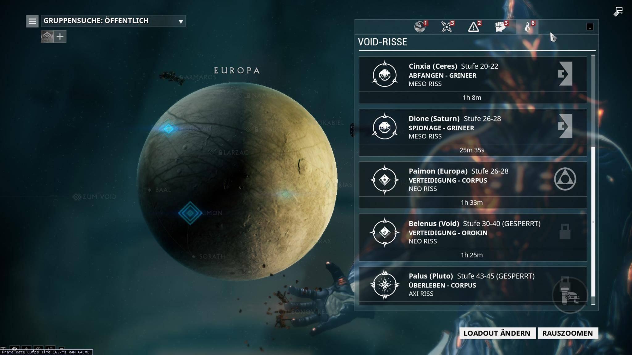 Die Sternenkarte zeigt: Diese Void-Riss-Missionen sind gerade verfügbar.