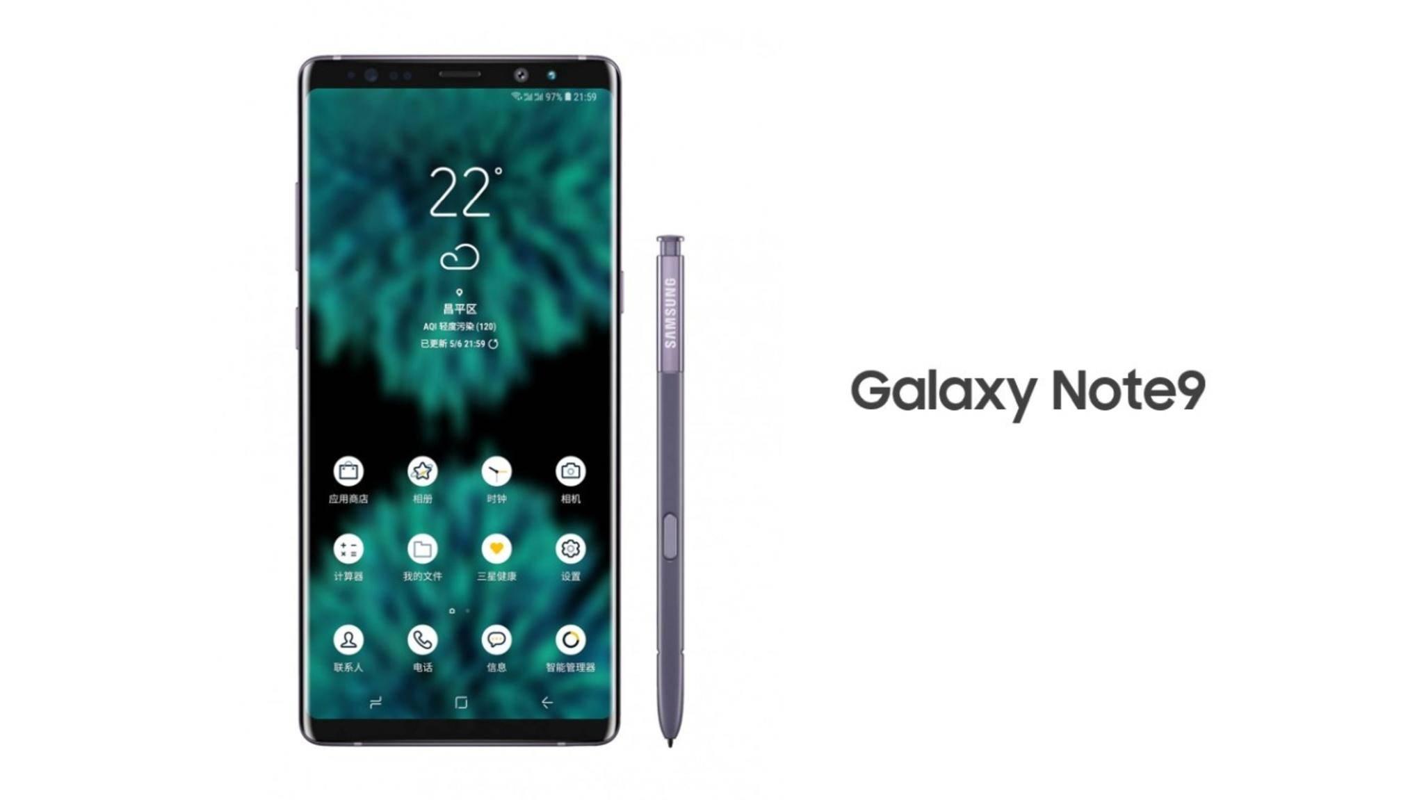 Das Galaxy Note 9 soll sich im Vergleich zum Note 8 nicht groß verändern.