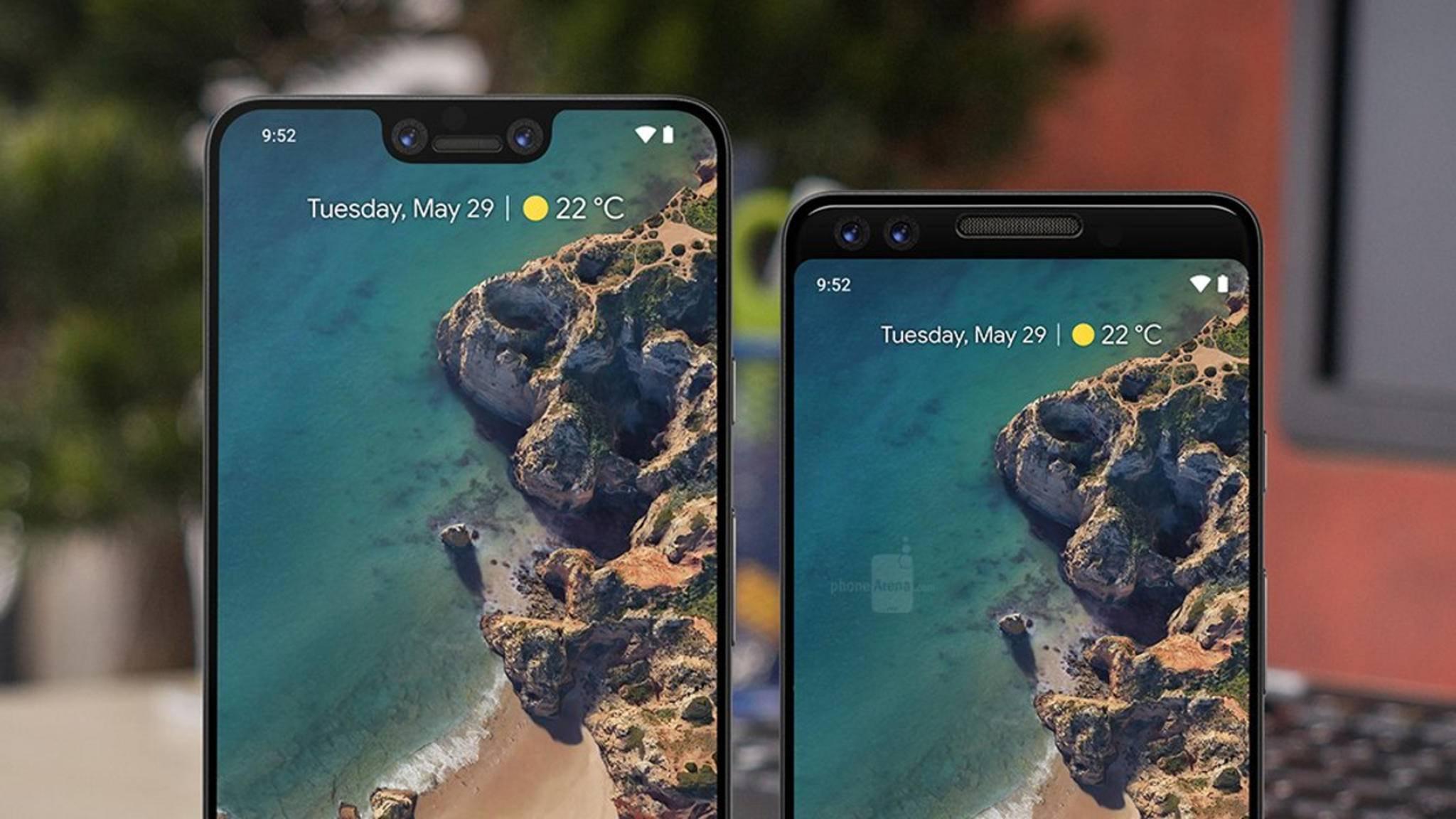So könnten Google Pixel 3 XL (links) und Google Pixel 3 aussehen.