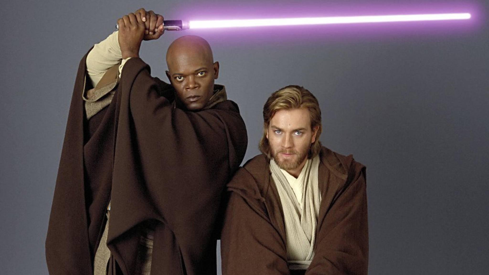 Wird es im Film über Obi-Wan Kenobi (r.) auch ein Wiedersehen mit Mace Windu (l.) geben?