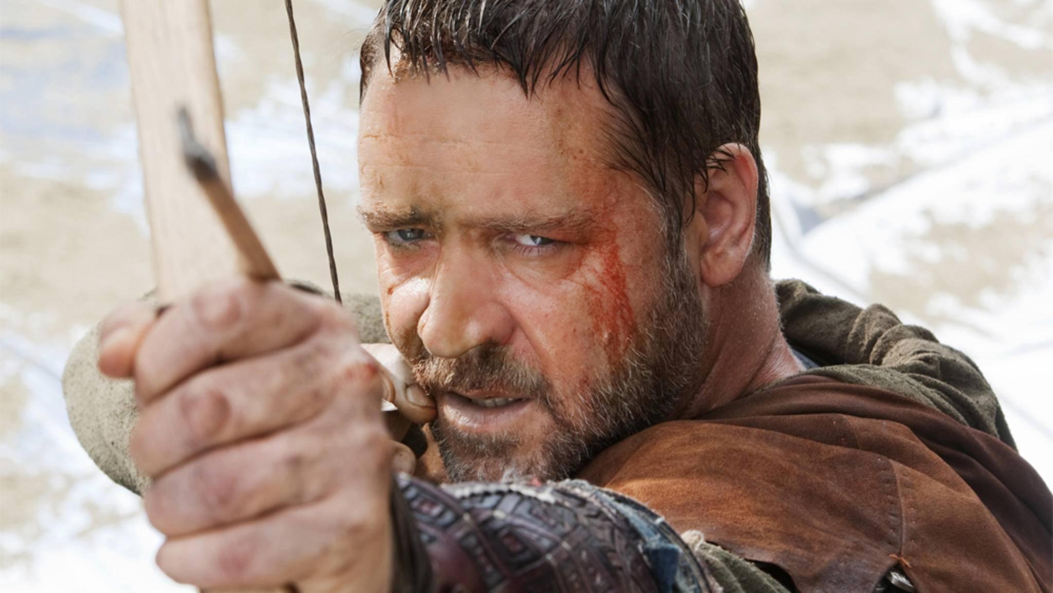 Auch Russell Crowe durfte schon als Robin Hood Pfeil und Bogen in die Hand nehmen.