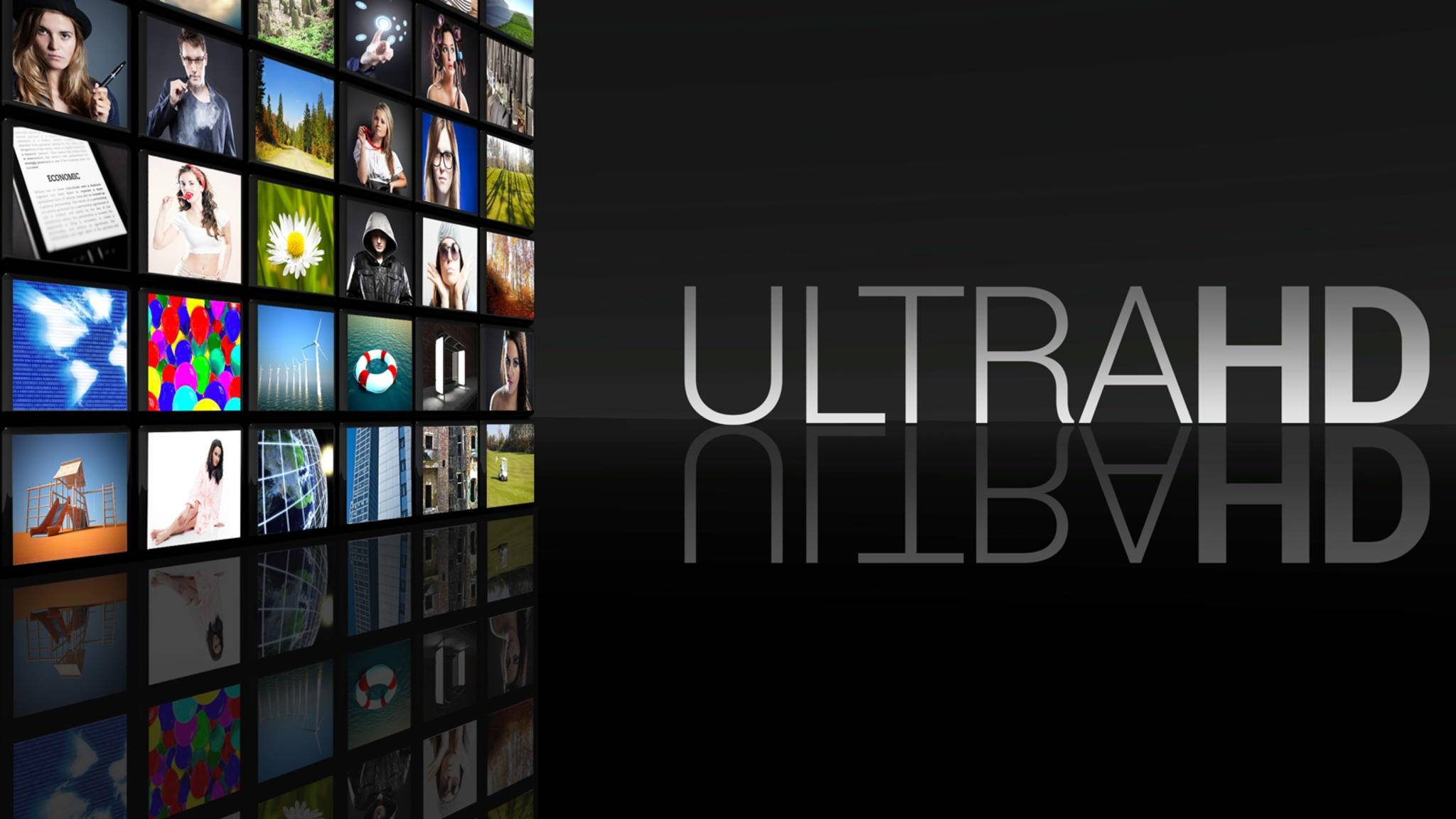 Ultra HD Television screens black background