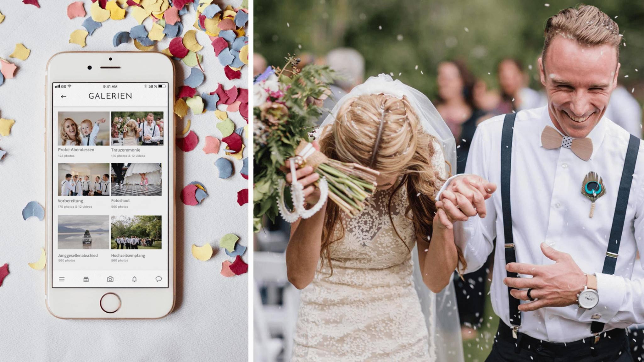 Hochzeits-Apps wie Vanolia können dem Paar viel Arbeit abnehmen.