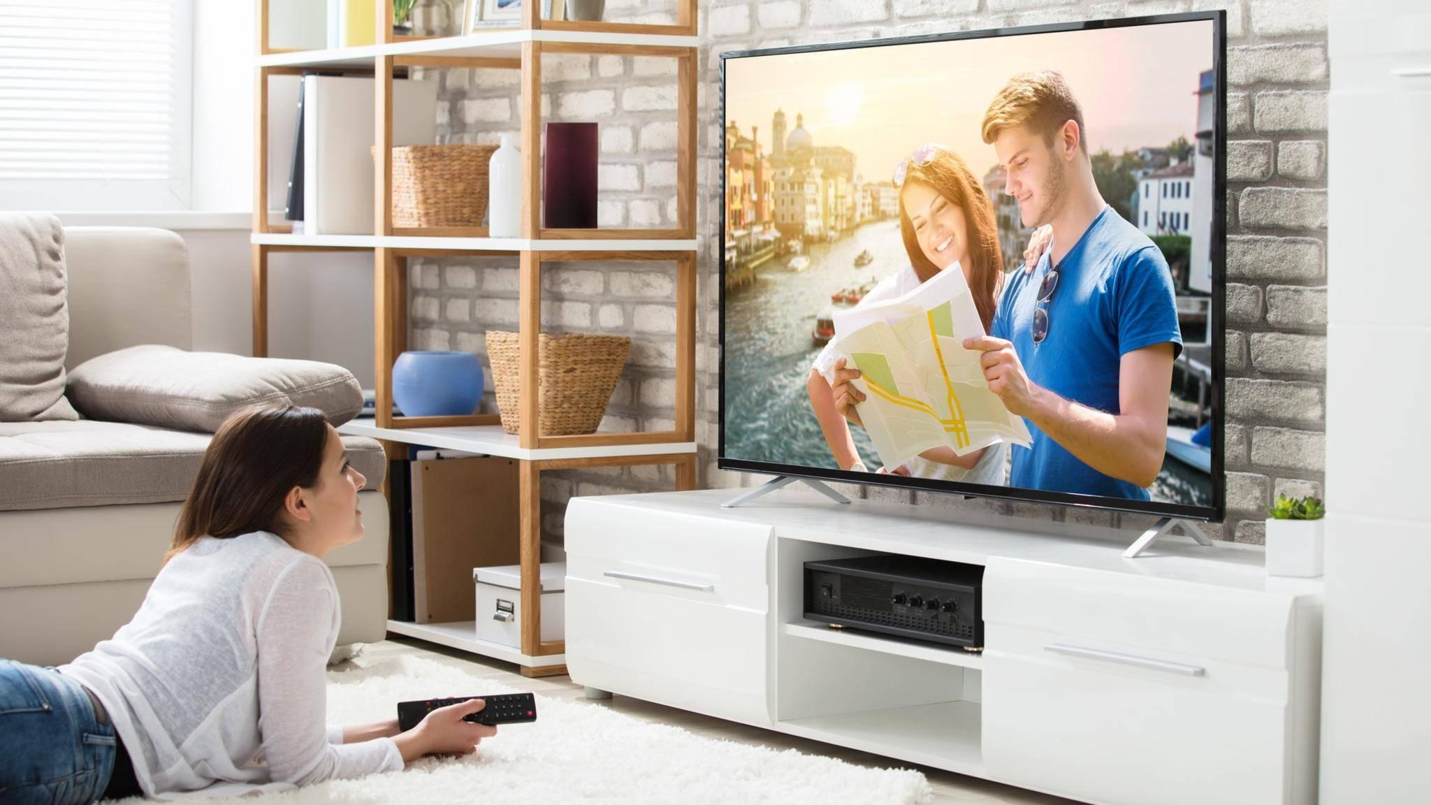 Frau, fernsehen, liegen, liegend, TV