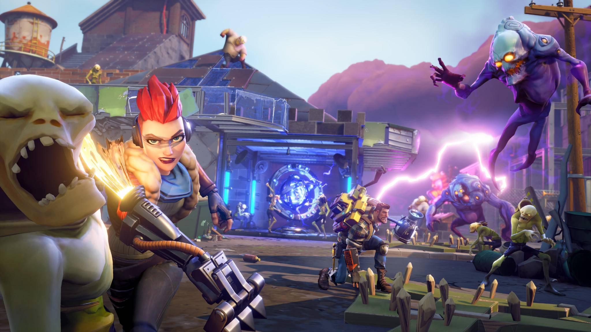 """Kein Battle Royale, trotzdem """"Fortnite"""": In """"Rette die Welt"""" erledigst Du mit anderen Spielern zusammen Zombie-Horden."""