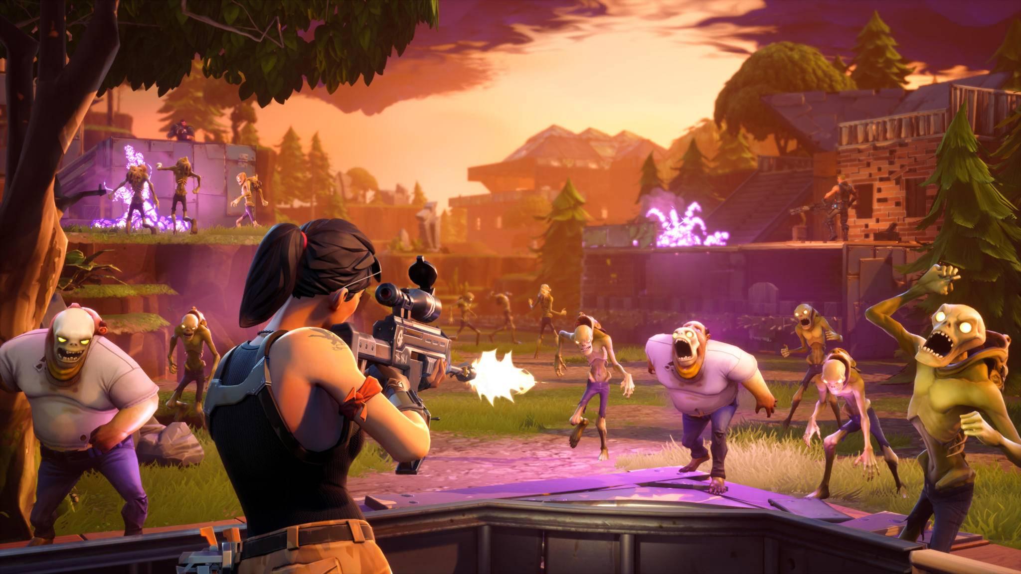 """In """"Fortnite: Rette die Welt"""" kämpfen die Spieler zusammen gegen Zombies, in """"Battle Royale"""" messen sie sich im Wettbewerb gegeneinander."""