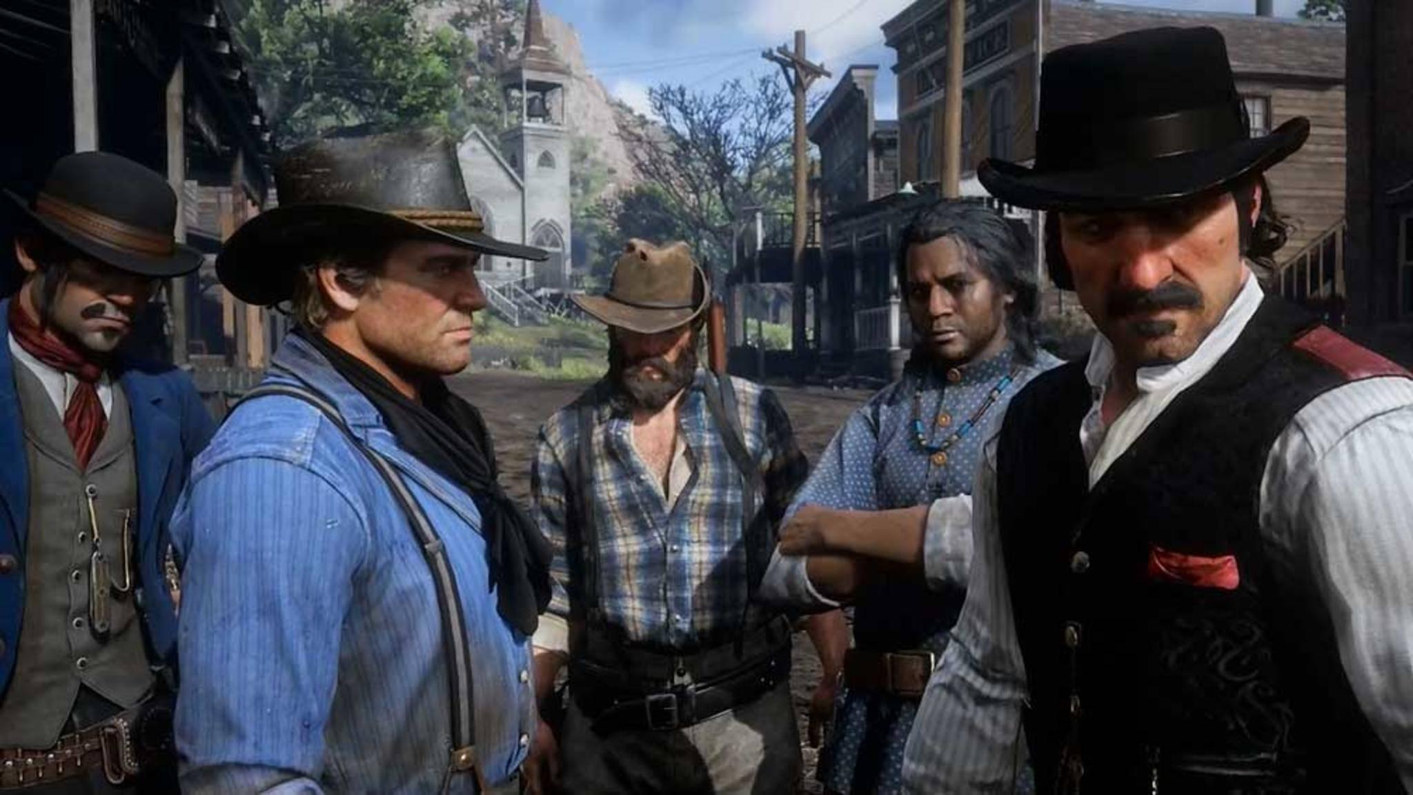 """In Trailern zu """"Red Dead Redemption 2"""" zeigte sich Arthur Morgan (2. v.l.) stets glattrasiert."""