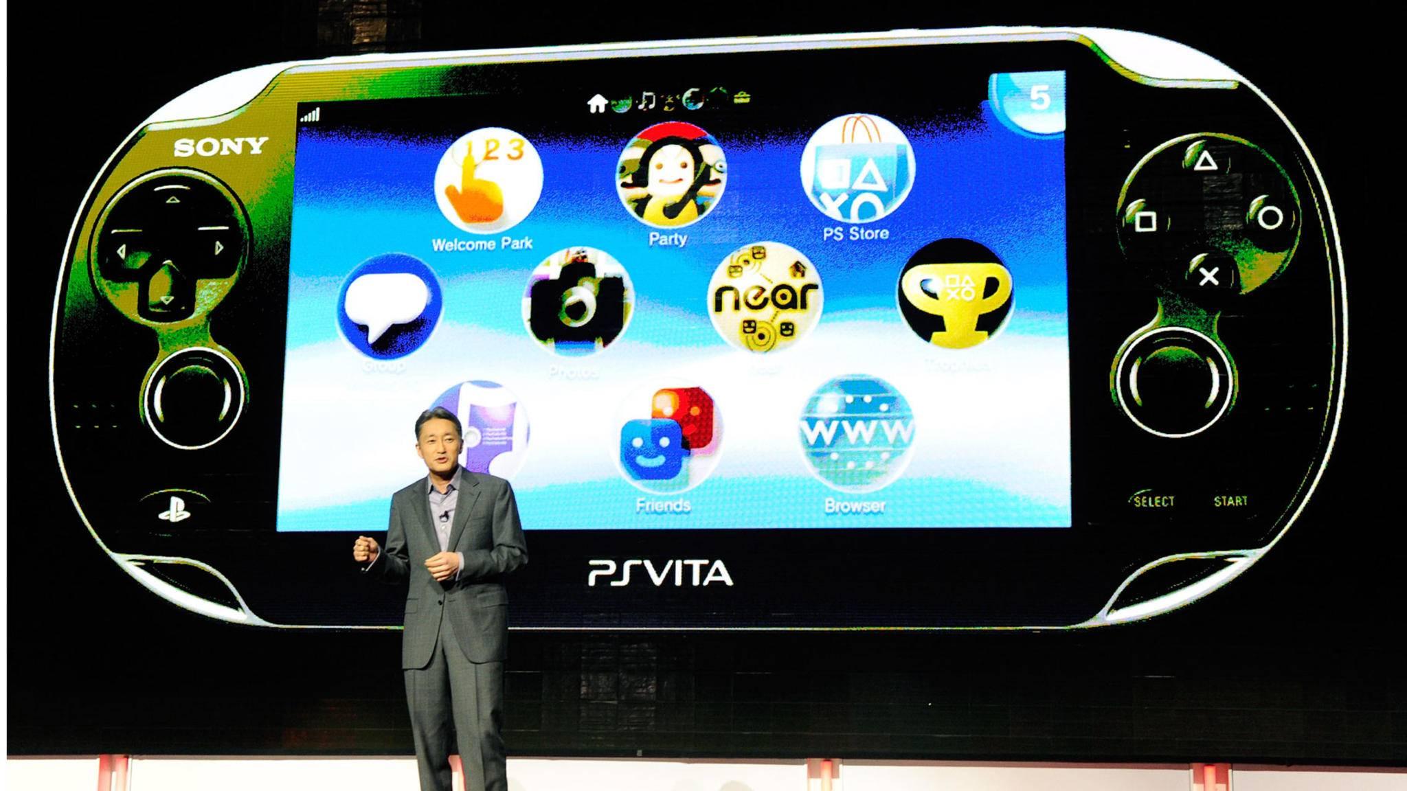Sony-Präsident Kazuo Hirai präsentierte die PS Vita auf der E3 2012. Nun läuft das Handheld-Modell langsam aus.