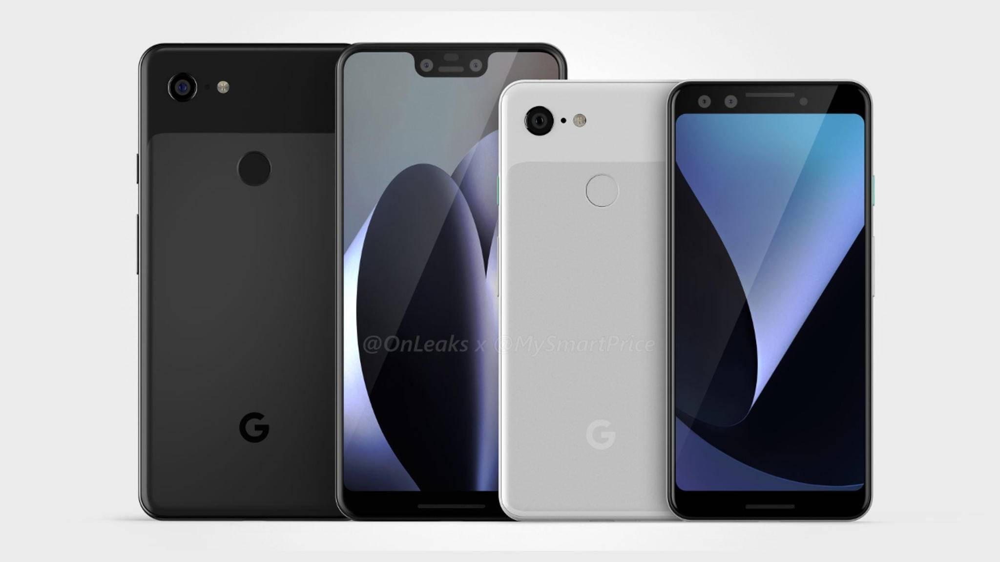 Das Google Pixel 3 XL (im Renderfoto links) kommt vermutlich im Oktober.