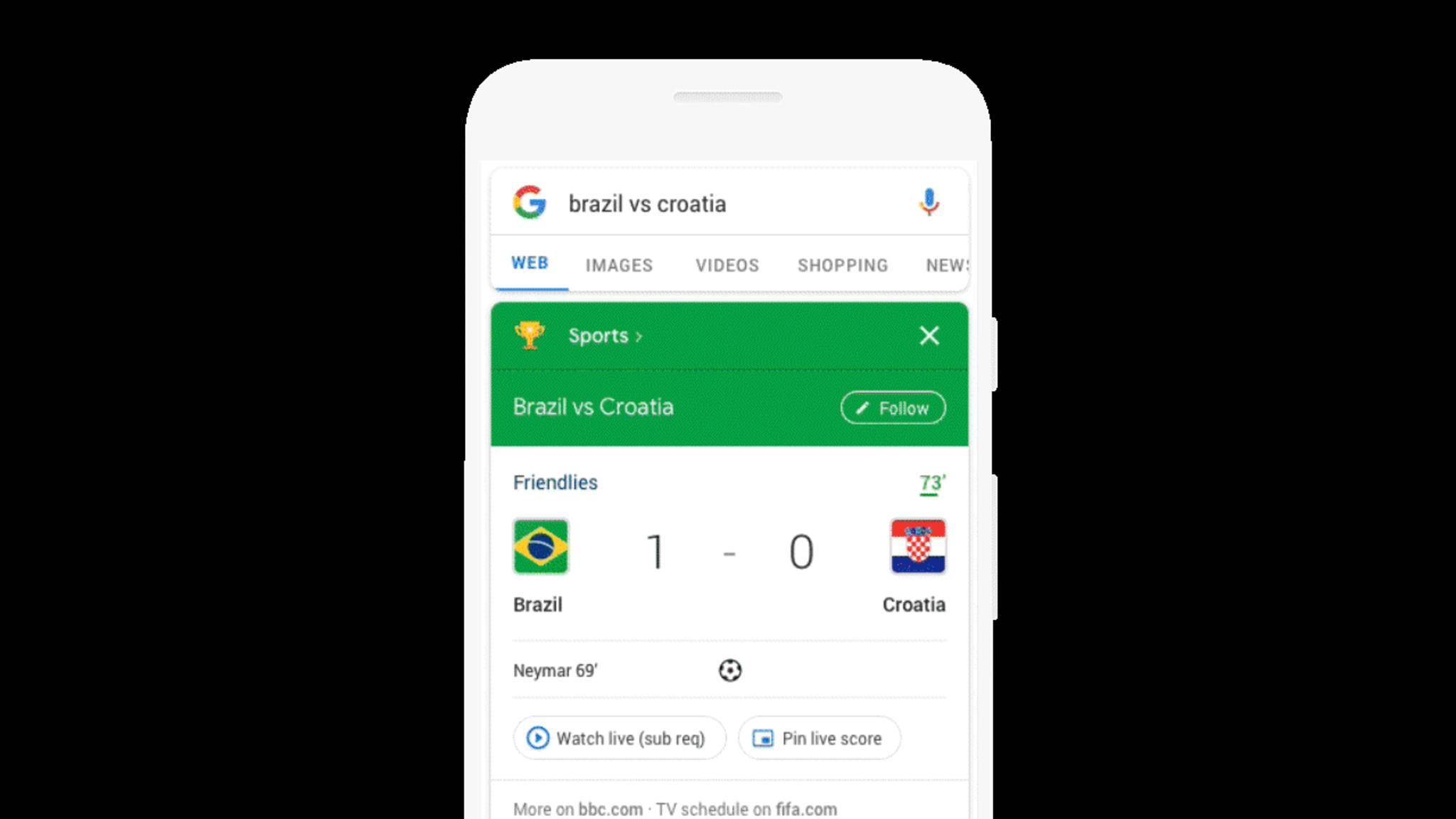 Auf Android-Smartphones kannst Du Dir den Live-Score auf den Bildschirm pinnen.