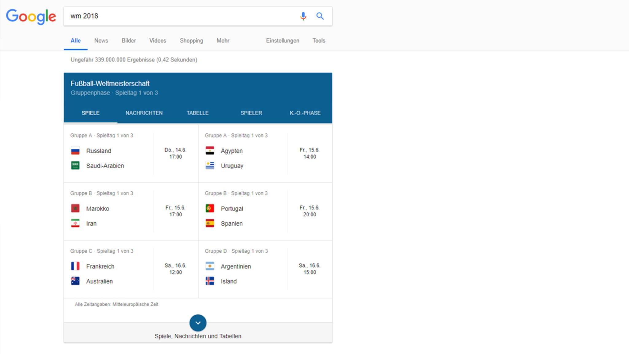 Sowohl am Desktop-PC als auch in der App steht die Google-Suche ganz im Zeichen der WM 2018.