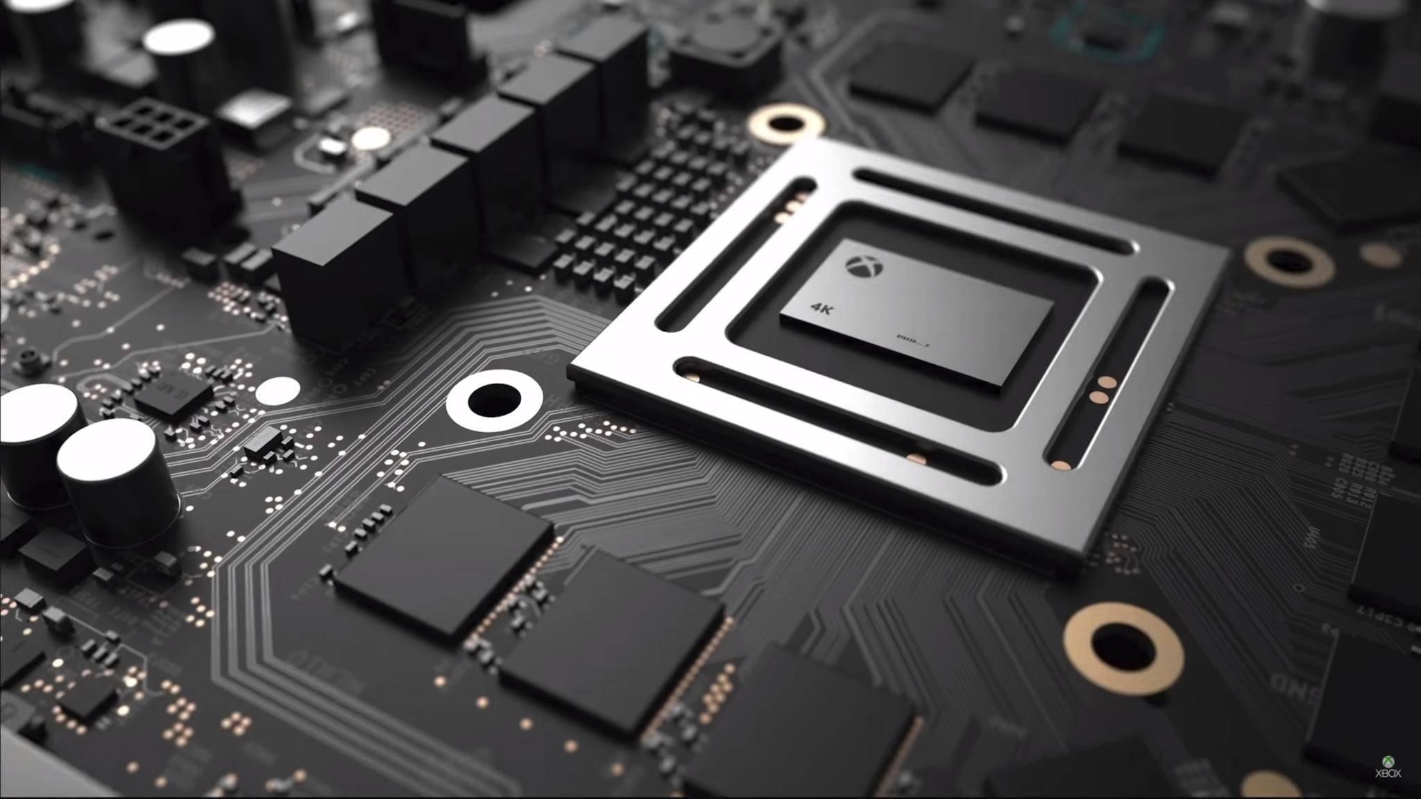 Im Project-Scorpio-Teaser ließ Microsoft den alten AMD-Jaguar-Chip in der Xbox One X besonders hübsch aussehen.