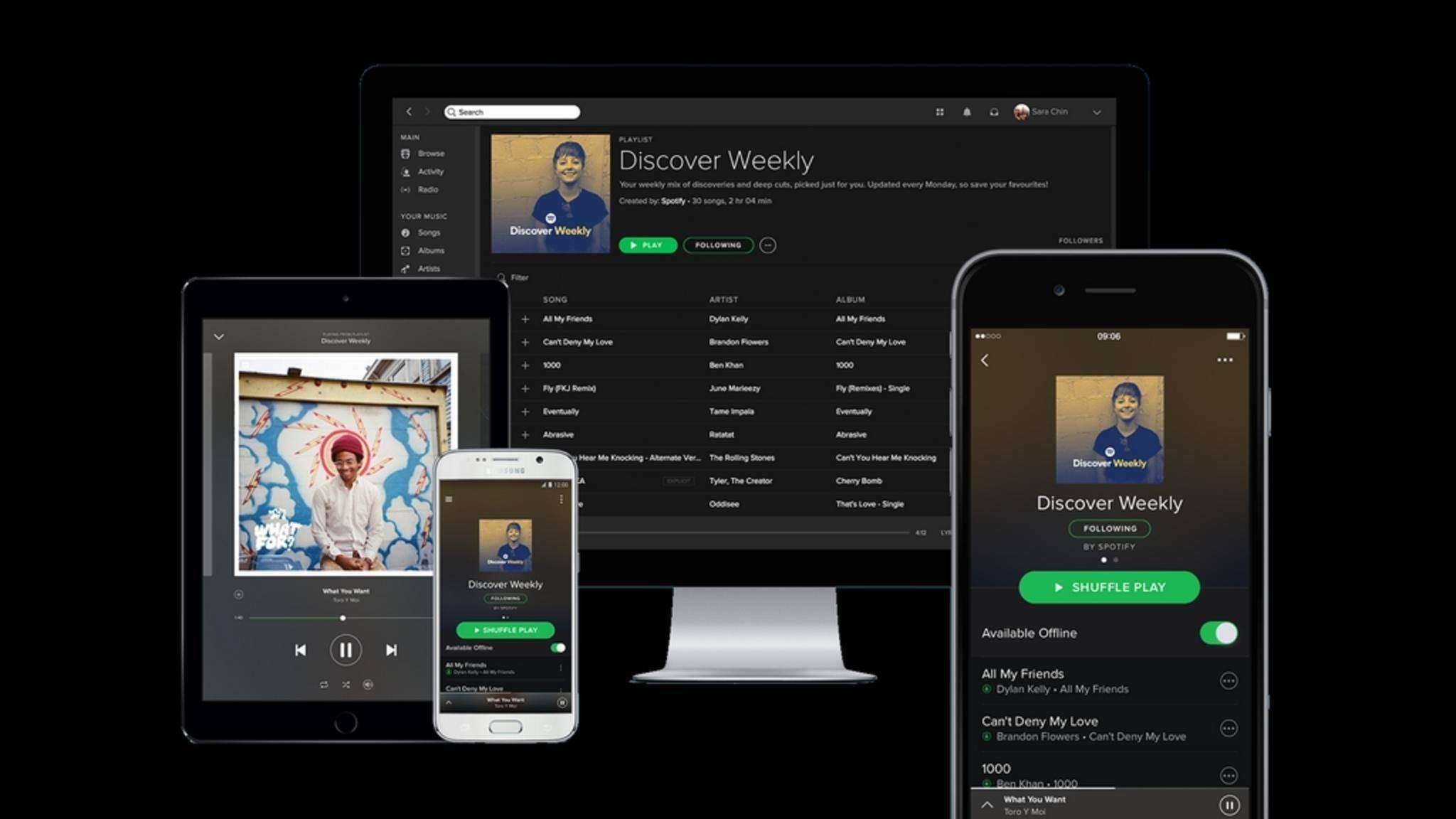 Spotify Connect streamt Musik auf viele verschiedene Endgeräte.