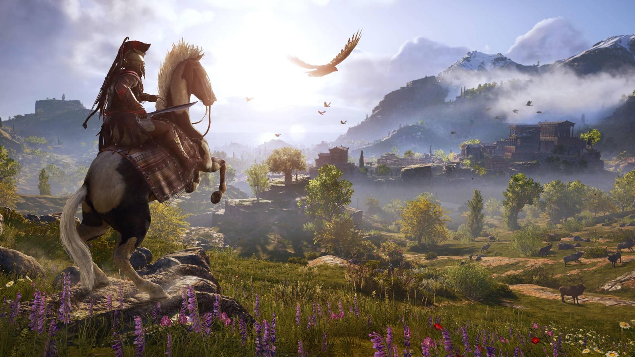 """Viele Gameplay-Elemente aus """"Origins"""" sind ähnlich geblieben. Darunter auch Reiten oder der Vogel als """"Drohne""""."""