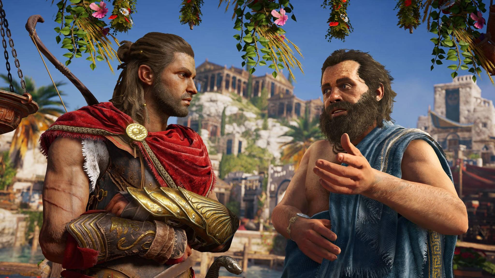 In den Erkundungs-Modi erfährst Du viel über bekannte Persönlichkeiten der Antike wie zum Beispiel Sokrates.