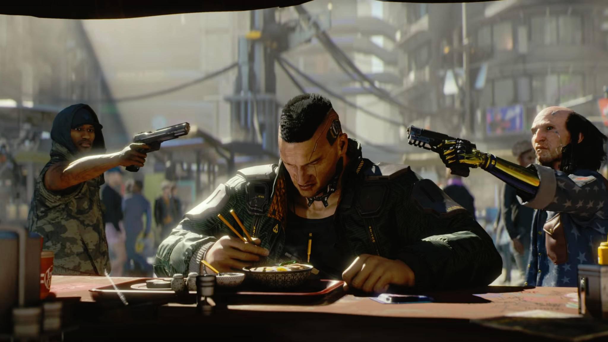 """Stillhalten! """"Cyberpunk 2077"""" dürfen wir erst im November spielen."""
