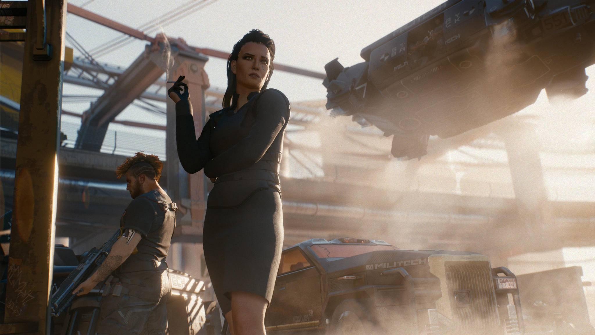 """Elegant, kühl ... und tödlich? In der """"Cyberpunk 2077""""-Welt traut man am besten erst mal niemandem."""