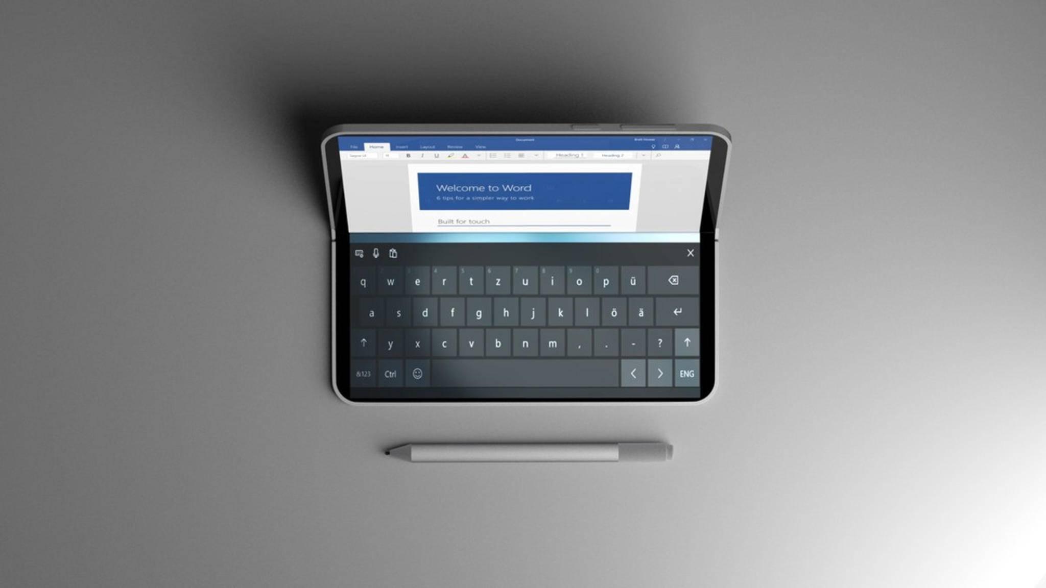 So könnte das Surface Phone im Laptop-Modus aussehen.