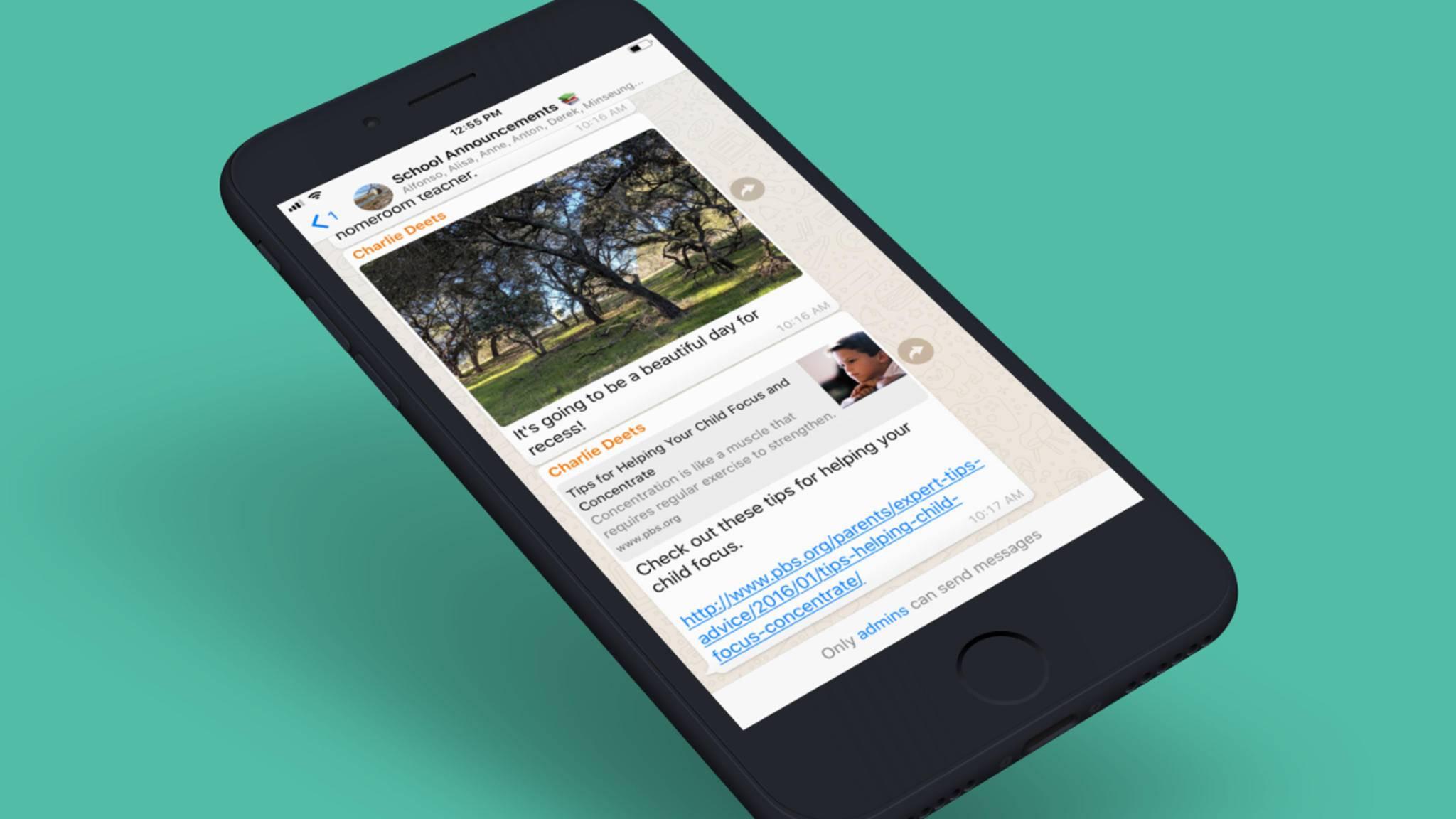 Admins in WhatsApp-Gruppen können auf Wunsch jetzt auch alleine Nachrichten schreiben.