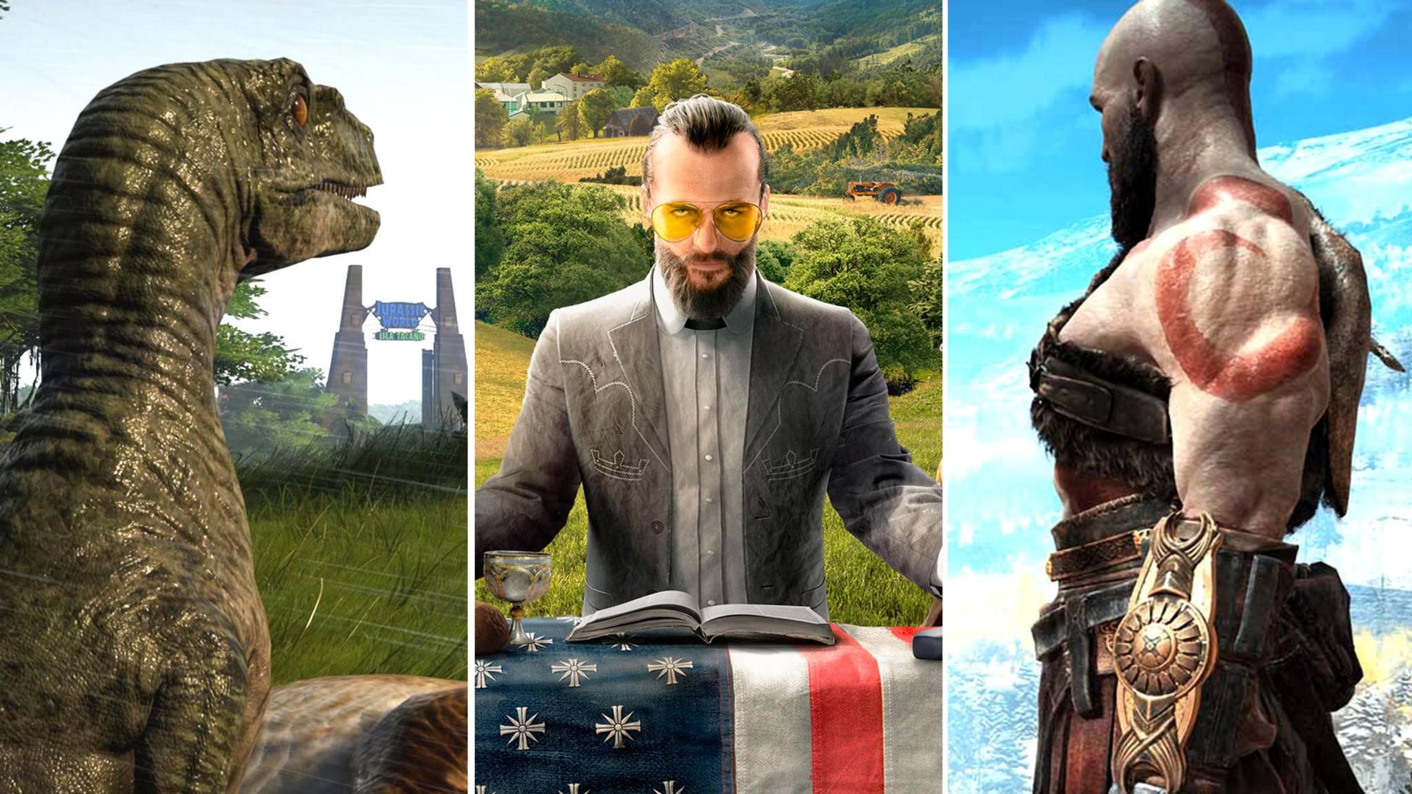 games-2018-jurassic-world-evo-far-cry-5-god-of-war-frontier-developments-ubisoft-sony