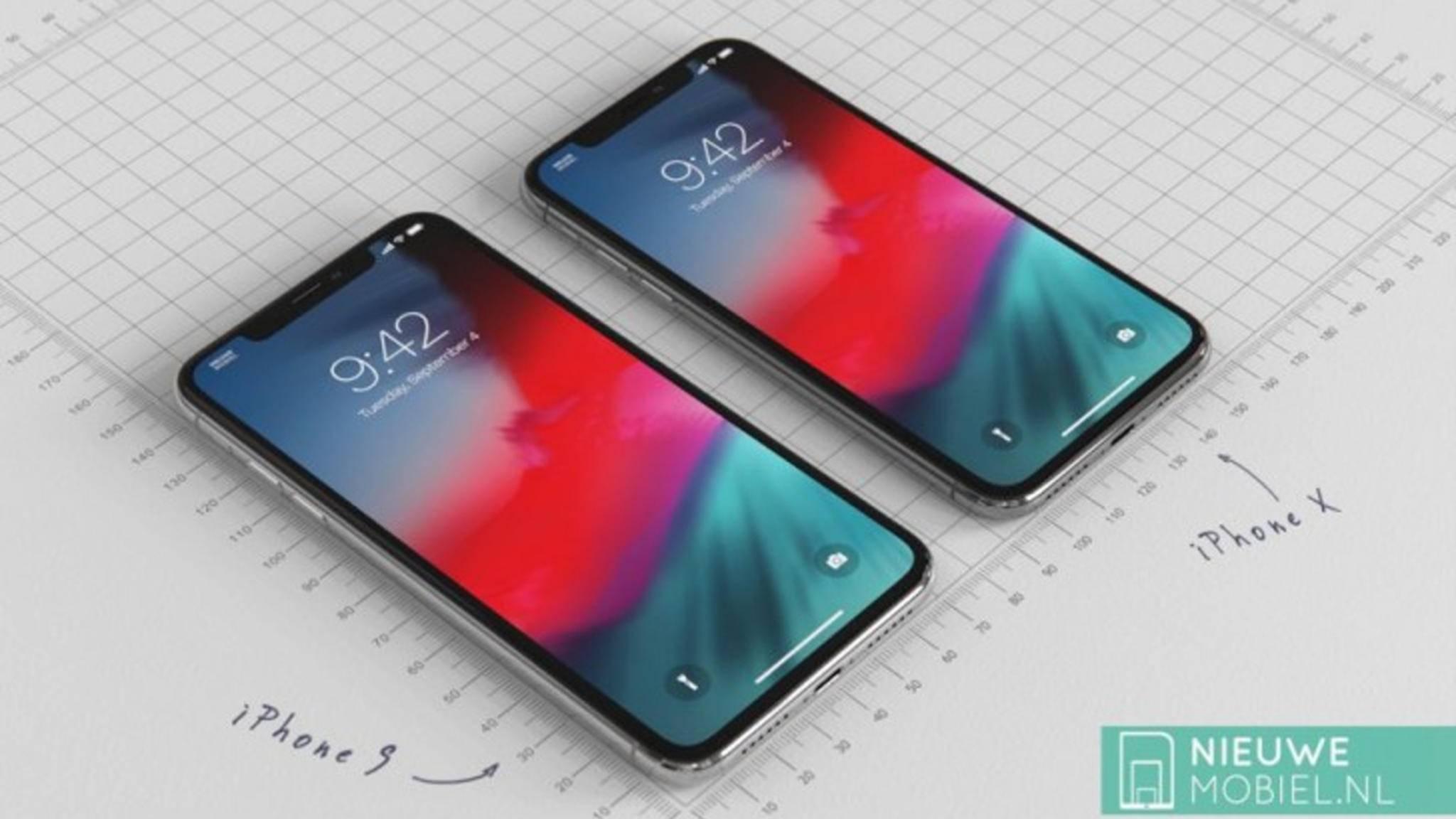 So könnte das iPhone 2018 (links) im Vergleich zum iPhone X (rechts) aussehen.