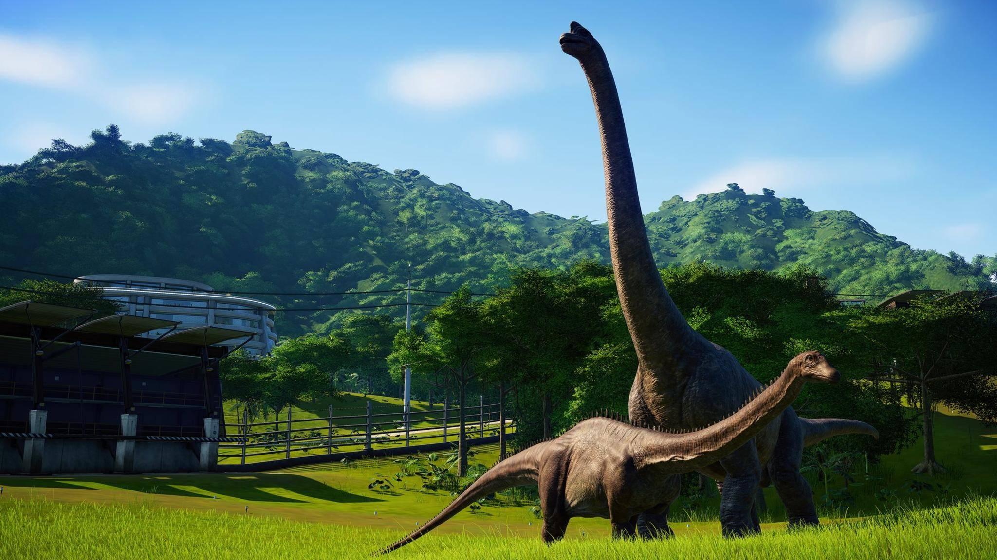 """So friedlich ie hier geht es in """"Jurassic World Evolution"""" nicht immer zu."""