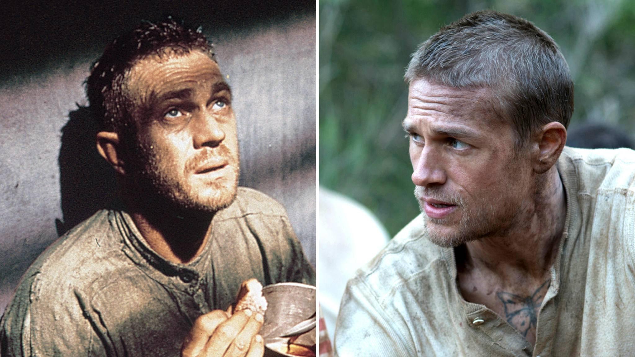 "Zwei Schauspieler, zwei Generationen: Steve McQueen (l.) und Charlie Hunnam als Henri ""Papillon"" Charrière."