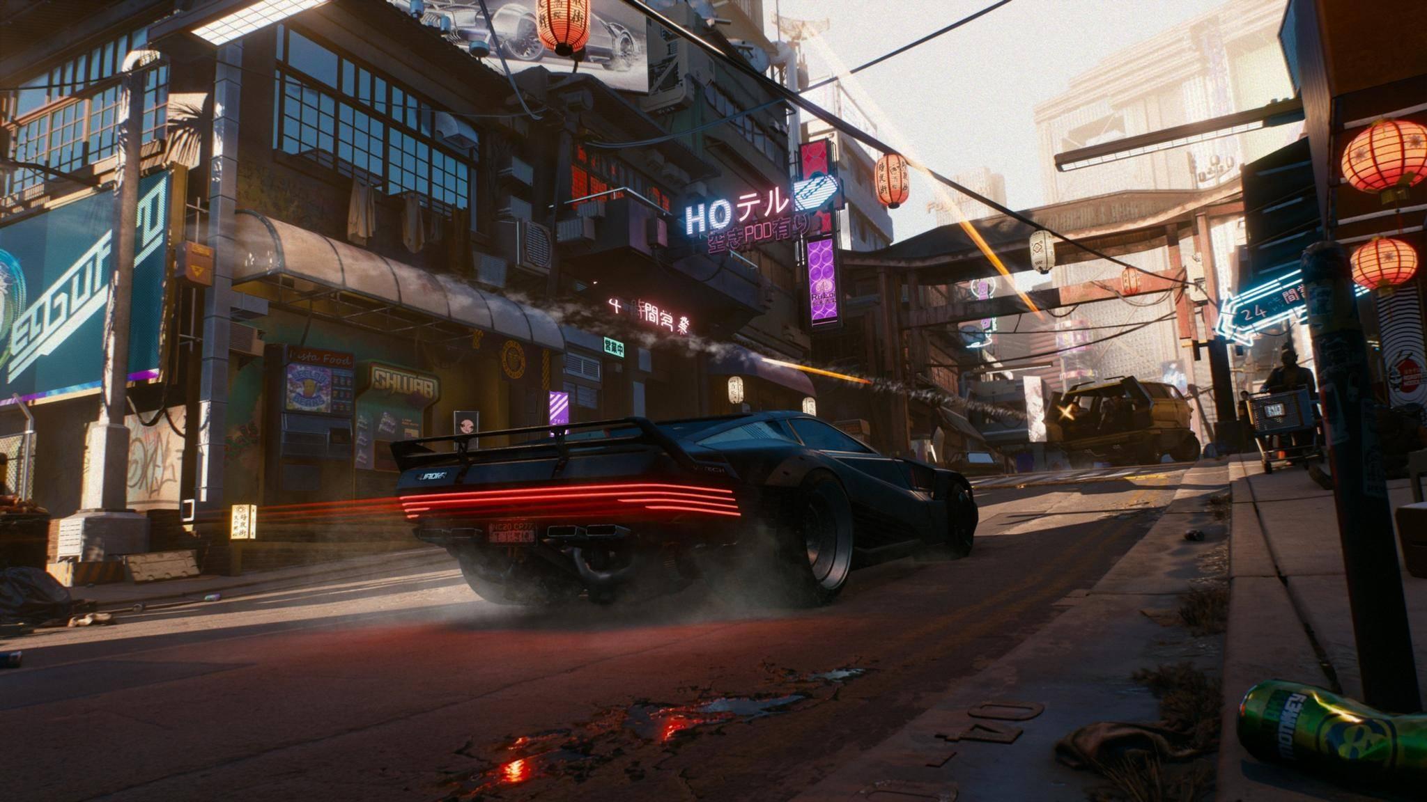 """Die Fahrzeuge in """"Cyberpunk 2077"""" hören aufs Wort.."""