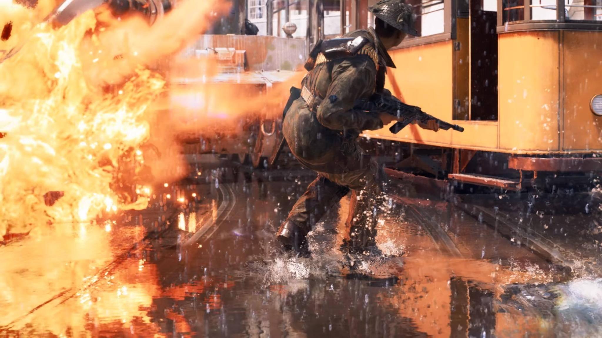 """Besonders Flammen sehen in """"Battlefield 5"""" mit aktiviertem Ray Tracing besonders spektakulär aus."""