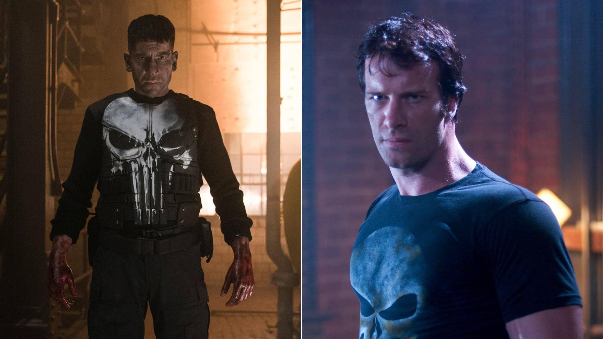 Der Punisher macht in der Netflix-Serie mit Jon Bernthal (links) in der Hauptrolle eine bessere Figur als im Kinofilm mit Thomas Jane (rechts).