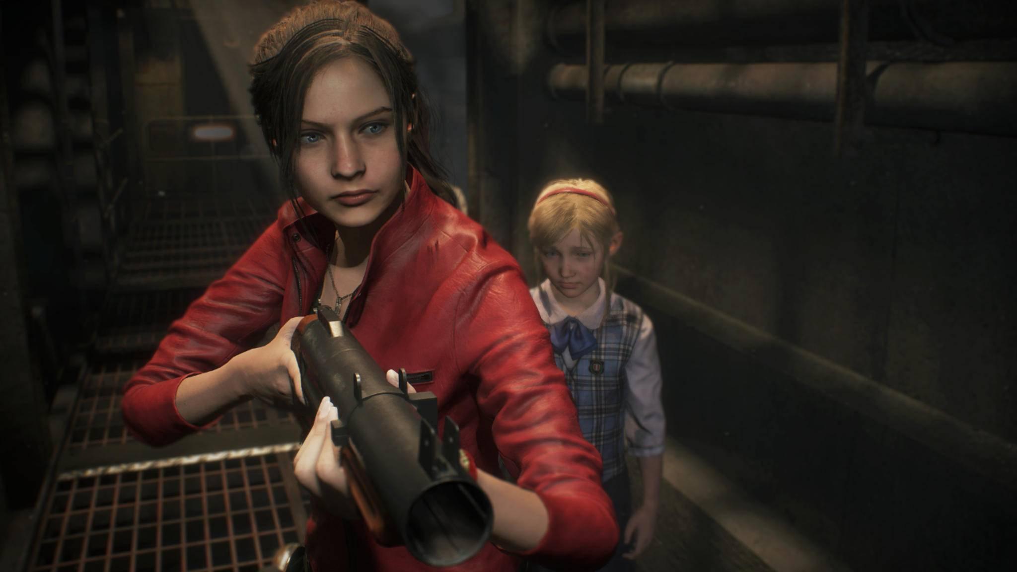 """Die Reminiszenz an """"Aliens"""" ist sicher nicht ganz zufällig: Claire Redfield als Ersatzmutter der kleinen Sherry Birkin in """"Resident Evil 2""""."""