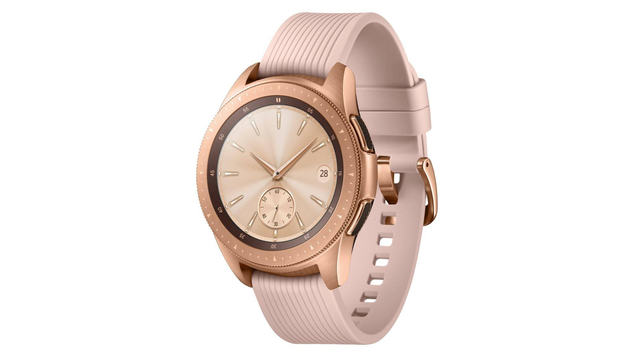 Samsungs brandneue Galaxy Watch kommt unter anderem in schickem Roségold daher.