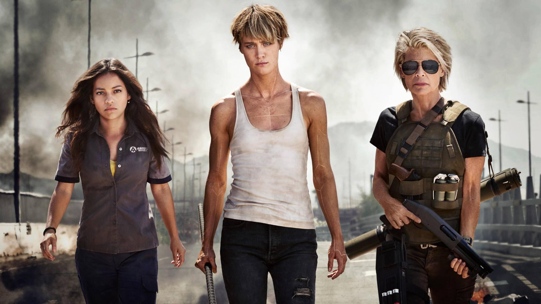 """Die Charaktere Dani, Grace und Sarah Connor (von links) bringen in """"Terminator 6"""" offenbar geballte Frauenpower mit."""