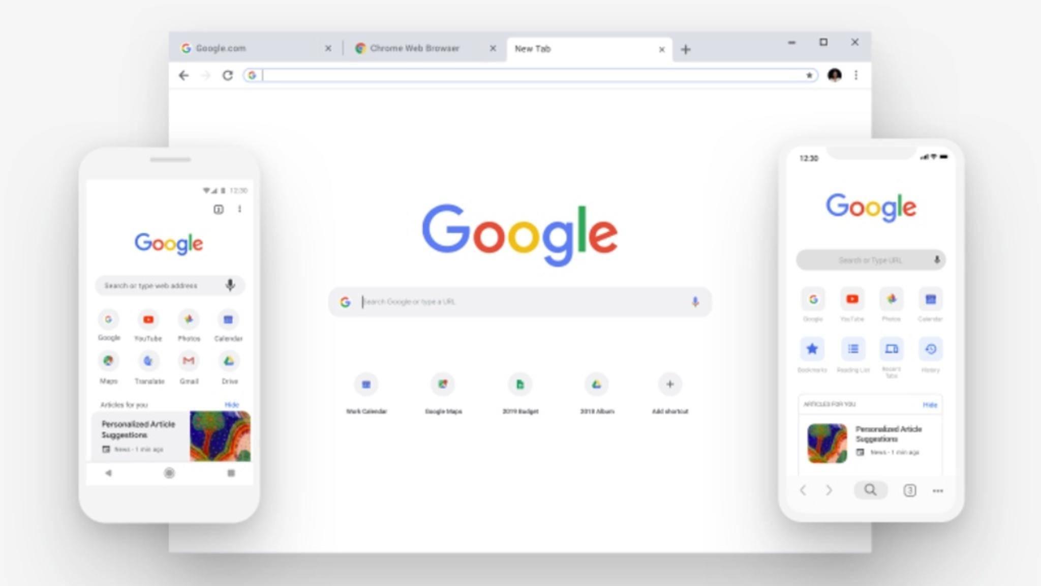 Das neue Chrome 69 setzt den minimalistischen Google-Stil fort.