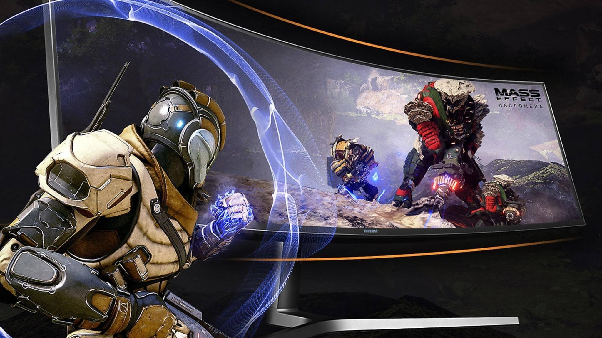 Curved-Ultrawide-Monitore wie der Samsung C49HG90 bieten eine immersive Gaming-Erfahrung.