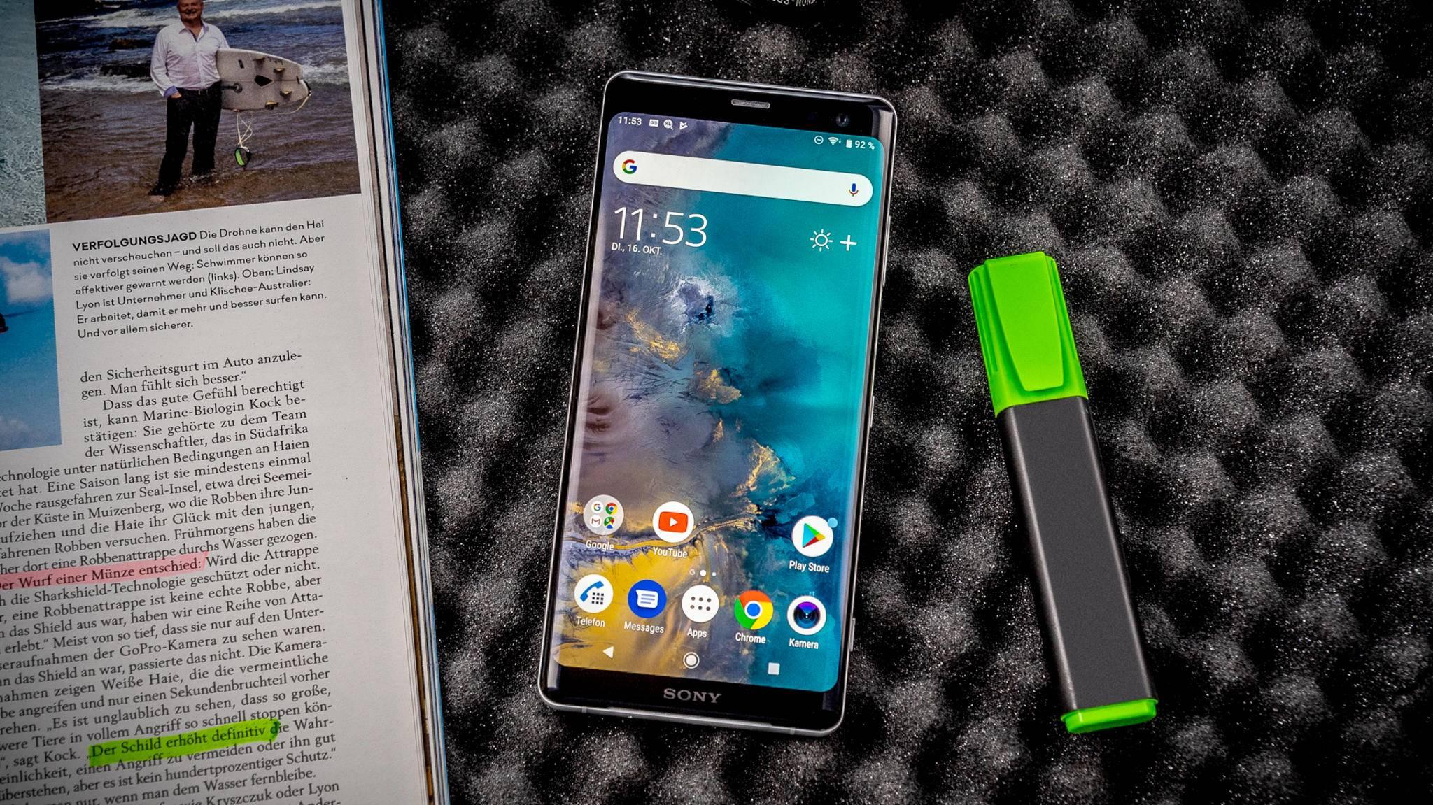 Das Sony Xperia XZ3 ist ein echter Hingucker.