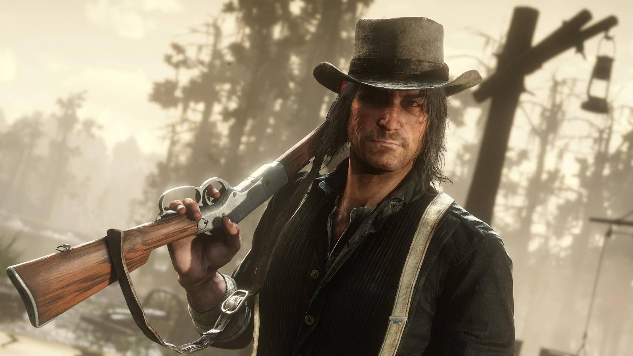 """John Marston ist irritiert; In """"Red Dead Redemption 2"""" kommt es zu einem seltsamen Bug."""