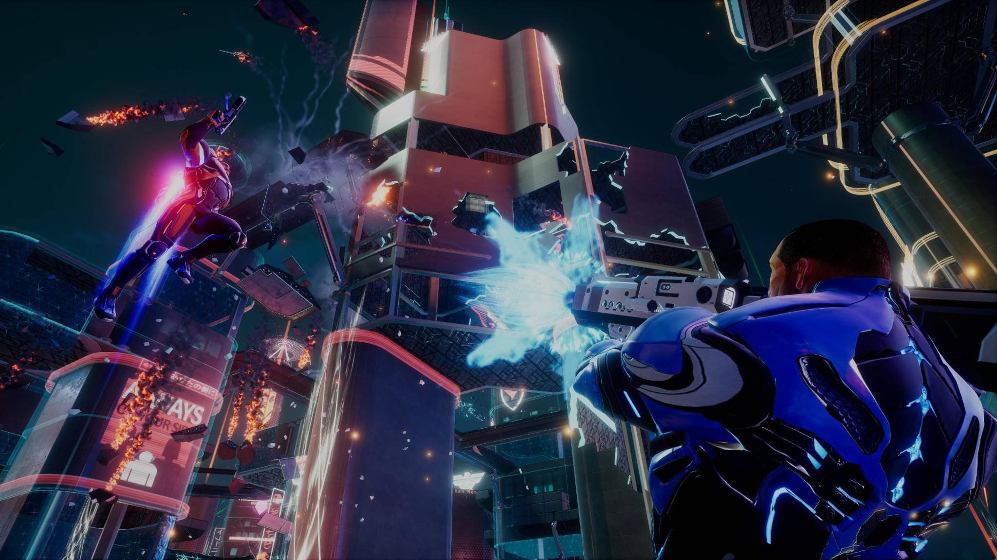 """Im """"Crackdown 3""""-Multiplayer fliegen die Fetzen."""