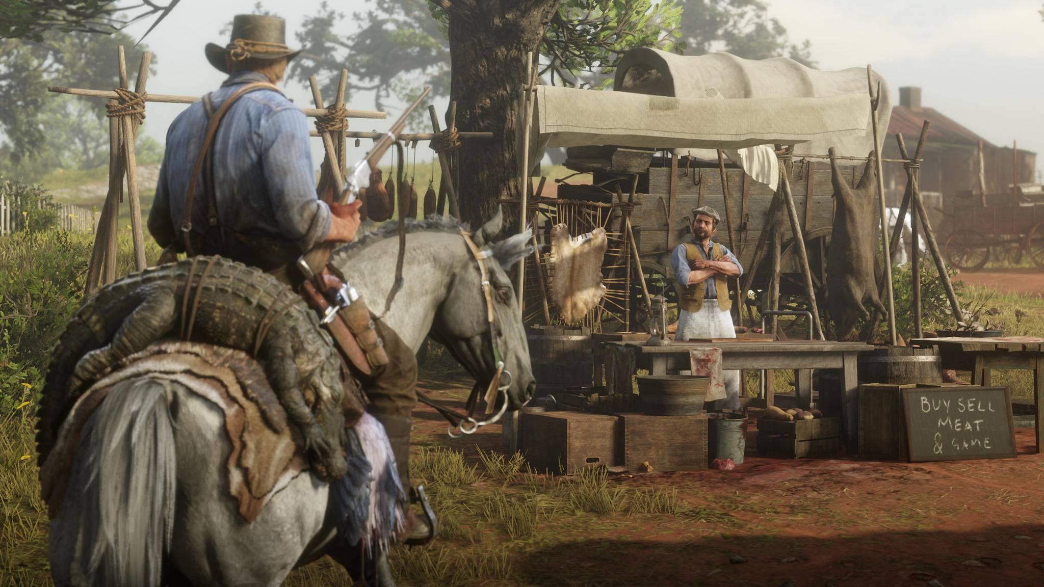 Bei den Trappern kann Arthur seine Jagdbeute an den Mann bringen.