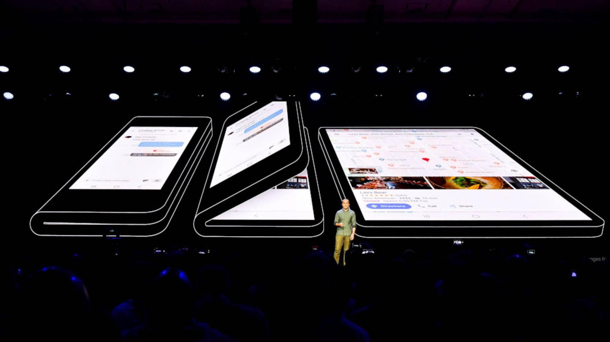 So wird das fertige faltbare Smartphone von Samsung nicht aussehen.