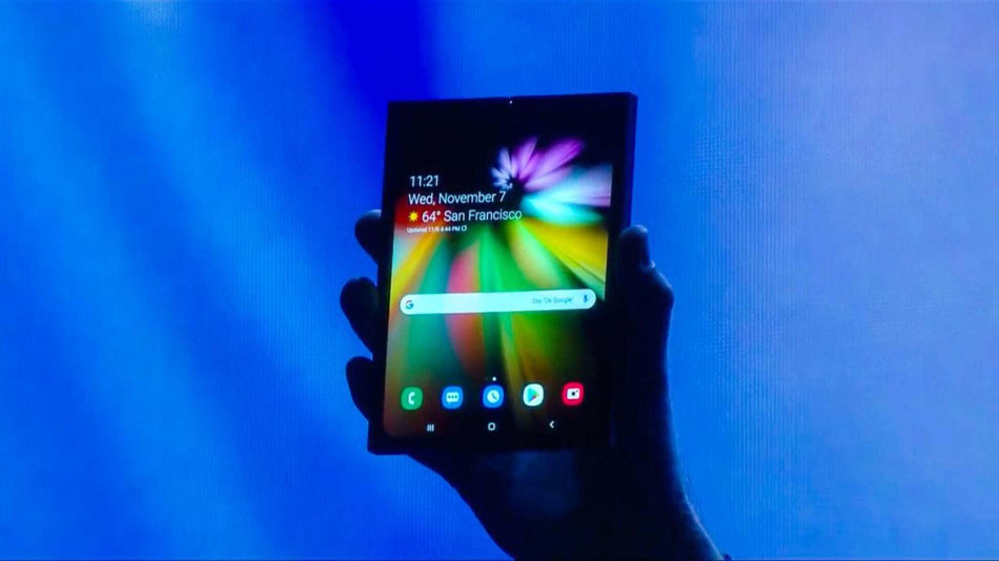 Soll noch in der ersten Jahreshälfte 2019 erscheinen: Das faltbare Smartphone von Samsung.