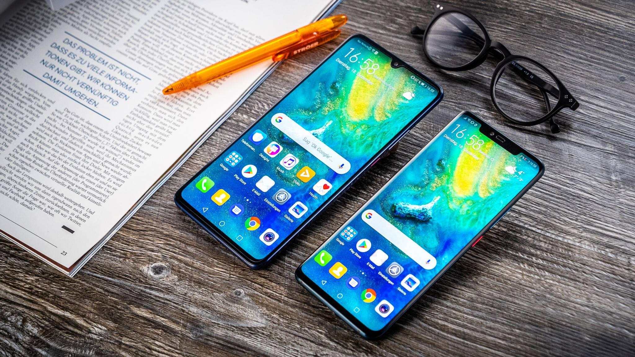 Huawei möchte seine Smartphones (hier das Mate 20 X links und das Mate 20 Pro rechts) nicht von iPhones beworben sehen.