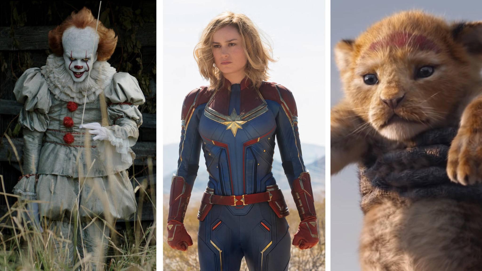 """""""Es 2"""", """"Captain Marvel"""" und """"König der Löwen"""" sind nur drei der kommenden Kinofilme 2019."""