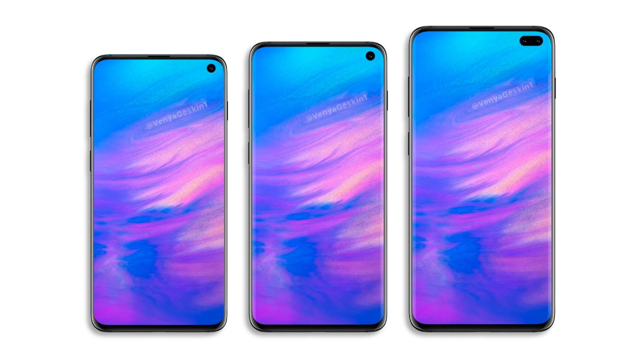 Das Galaxy S10 (Renderkonzept) soll angeblich in drei Versionen erscheinen.