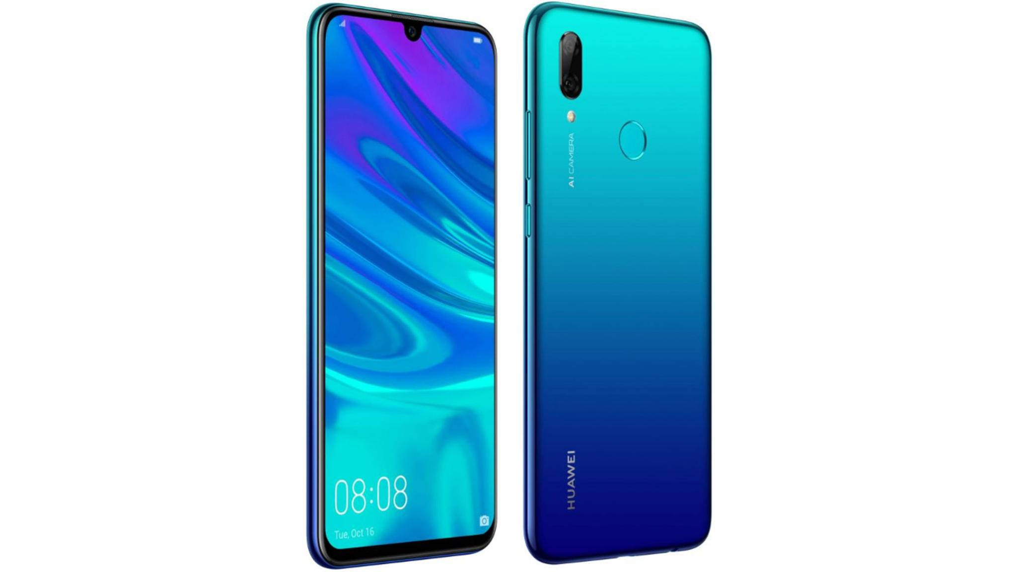 Das Huawei P Smart (2019) in Aurora Blau.