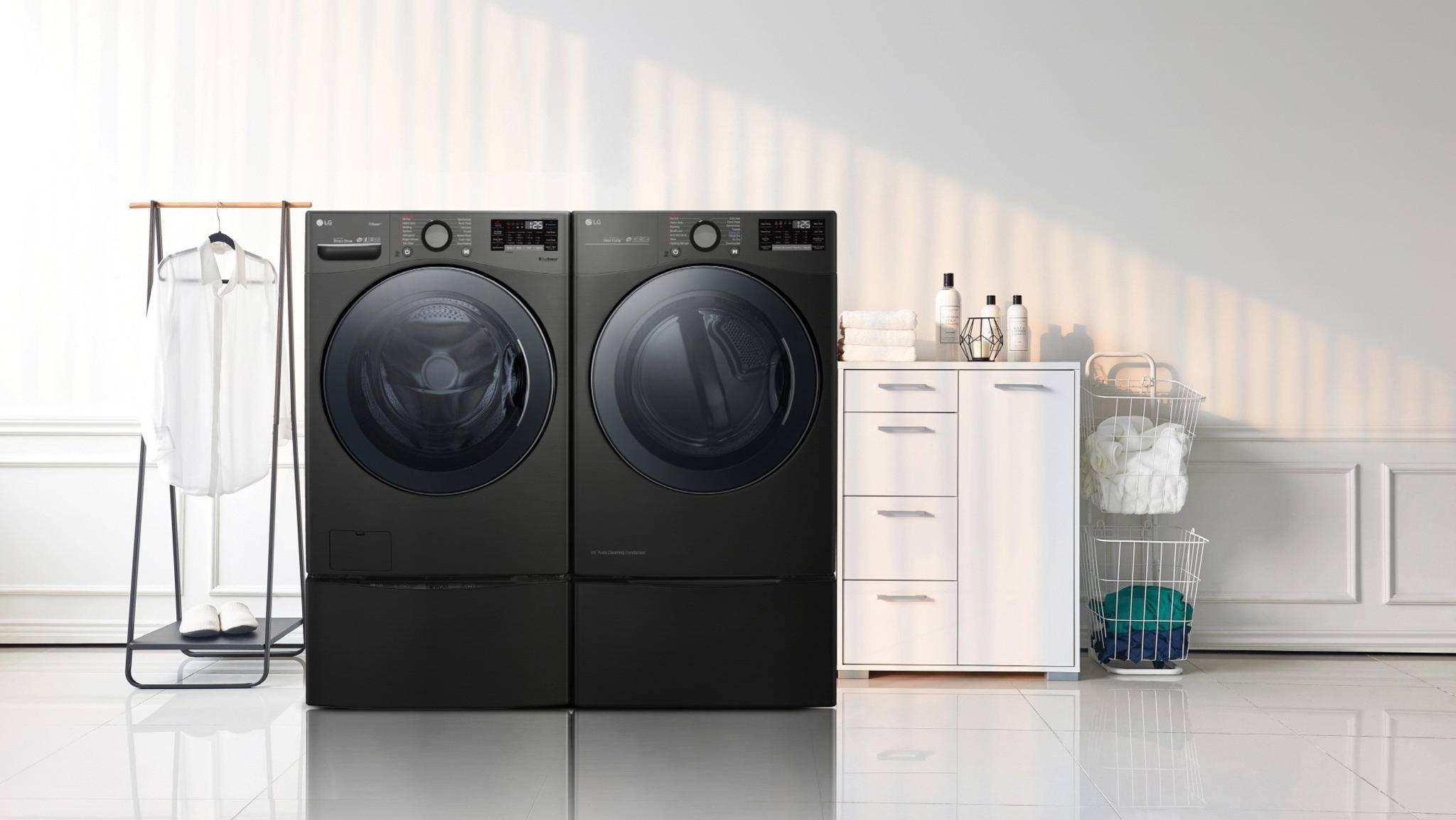 Optisch erinnert die ThinQ-Waschmaschine an die TwinWash-Geräte von LG (siehe Bild).